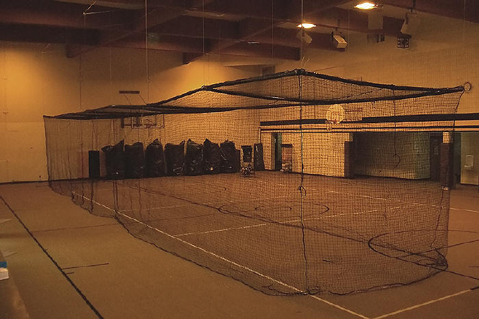 Indoor Batting Cage Retractable Motorized Pulley System. CLICK HERE TO VIEW  A COMPLETE SLIDE SHOW